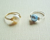 Genunine Pearl Childs Ring - My First Gemstone Ring - You Choose - Sterling Silver or 14 K Gold Plated Wire - Made to Order