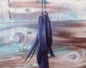Boucles d'Oreilles Plumes - Navy Bleu