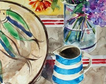 Cornish Blue - Original contemporary watercolour still life painting