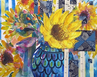 Sunflowers - mixed media original floral still life painting