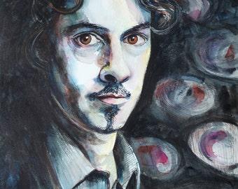 Portrait of a Man - Original Watercolour and Mixed Media Portrait