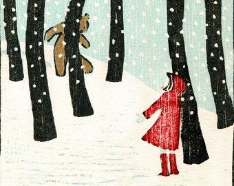 Hello Bear - Christmas Card from an original woodcut print