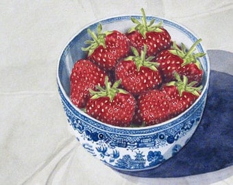 Bowl of Strawberries - contemporary fine art still life greetings card