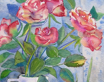 Pink Roses - contemporary floral fine art greetings card