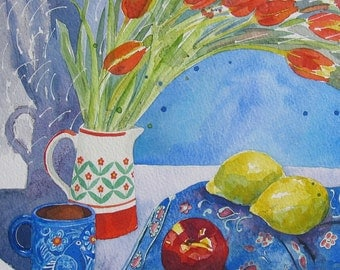 Red Tulips - contemporary original fine art watercolour floral still life painting