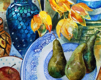 Pears for breakfast - Large Contemporary Original Fine art Watercolour Still Life Painting