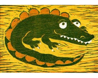 Gilbert the Croc (Orange & Yellow) - Original Reduction Woodcut