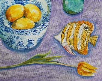 Little Yellow Fish - contemporary original watercolour still life painting