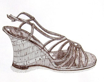 Strappy Sandal - Contemporary original pen and ink fashion drawing
