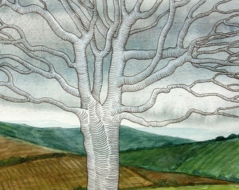 Ghost Tree II - original mixed media watercolour landscape painting