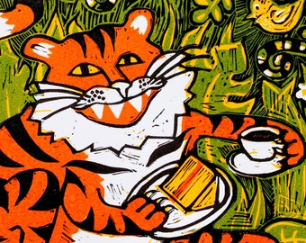 Tiger tea time - signed original hand pulled linocut print - contemporary fine art