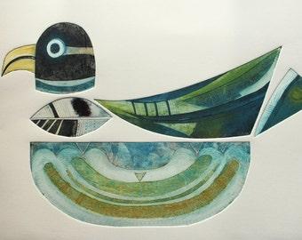 Totem II - Metamorphosis - Signed Original Collagraph with carborundum and stencils