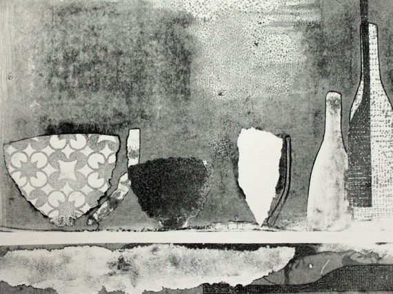 Vessels II - original contemporary black and white monoprint
