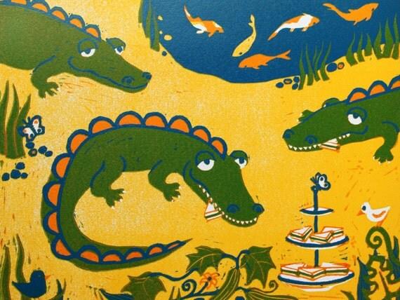 Crocodile tea time - signed original hand pulled reduction linocut print - contemporary fine art