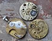 Lot of 3 antique pocket watch movements.