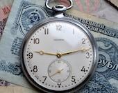 "Rare Vintage Soviet Mechanical Pocket Watch ""ISKRA"".2MWF."