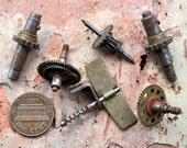 Set of 6 Vintage brass alarm clock parts,gears,wheels,cogs.