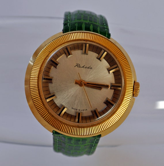 "Vintage Soviet mechanical  wristwatch ""Raketa"".Gold plated."