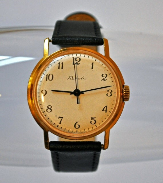 "Vintage mechanical  wristwatch ""Raketa"" from USSR.Gold plated case."
