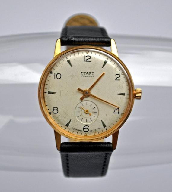 "Rare Vintage Soviet mechanical  wristwatch ""Start"".Gold plated case."