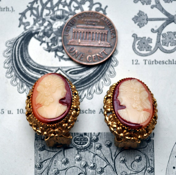 Vintage brass Cameo clip Earrings.
