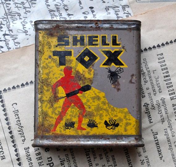 Vintage tin box.Shell TOX.