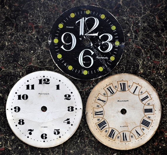 Lot of 3 Vintage cardboard alarm clock faces,dials.