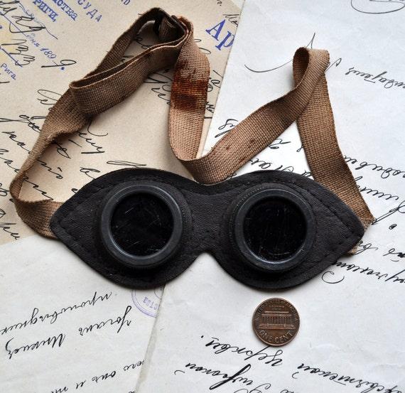 Rare Vintage Soviet kid's size Goggles,glasses,with dark lens.