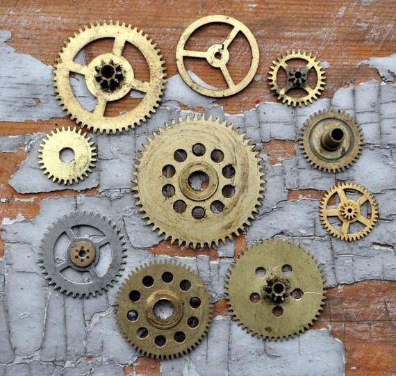 Lot of 10 Vintage brass alarm clock gears,wheels,cogs.(118)