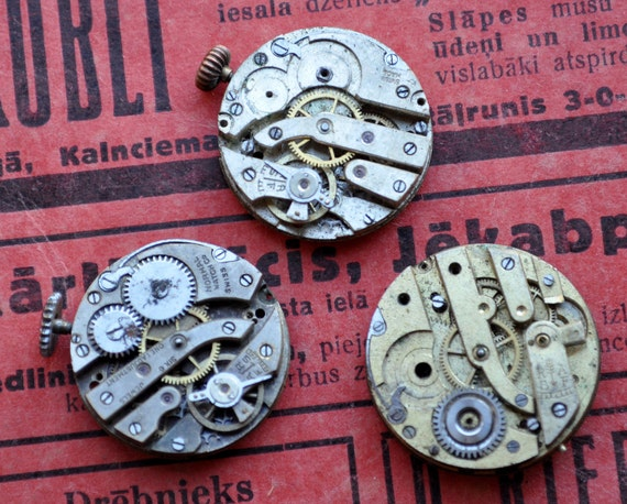 Lot of 3 Antique small watch movements.