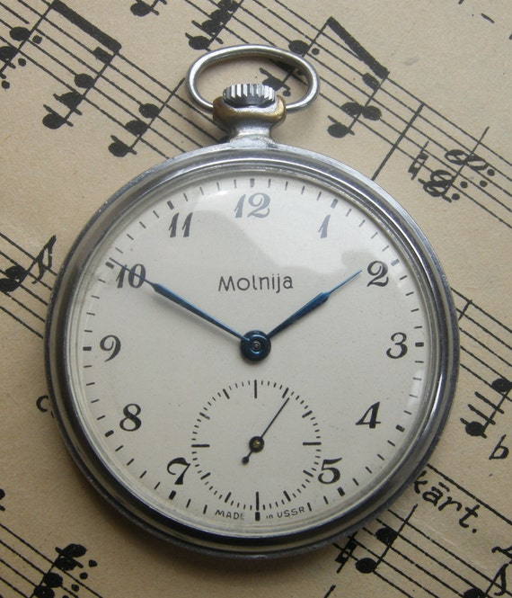 "Vintage Soviet mechanical Pocket Watch ""MOLNIJA""."