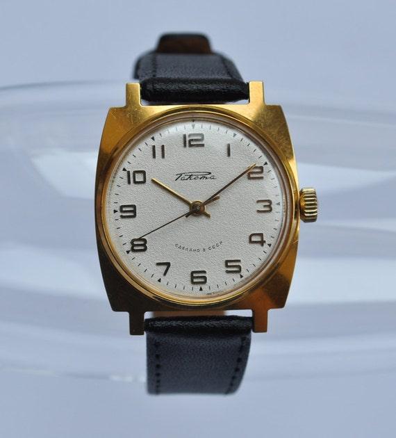 "Vintage Soviet mechanical  wristwatch ""Raketa"".Gold plated."