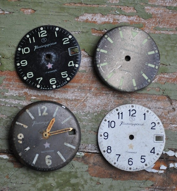 Lot of 4 vintage watch faces.dials.circle