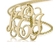 Monogram Necklace - 1.5 inch Personalized Monogram - Sterling silver 18k gold plated Name Necklace