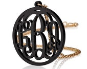 "Acrylic 1.6"" Monogram Necklace - Custom Made with 18k Gold Plated chain"