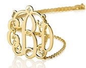 """Monogram Necklace 1.5"""" with 1 Point Diamond - 18k Gold Plated over Silver"""