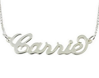 Custom Name Necklace, Personalized Name Necklace Sterling Silver with Any Name Necklace - Bridesmaid Gift