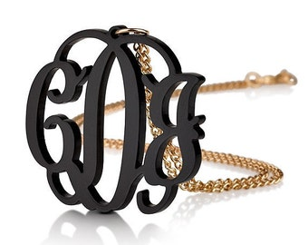 """Acrylic 1.6"""" Monogram Necklace - Custom Made with 18k Gold Plated chain"""