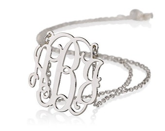 Monogram Necklace - 1 inch Personalized Monogram - Sterling silver Initial Necklace