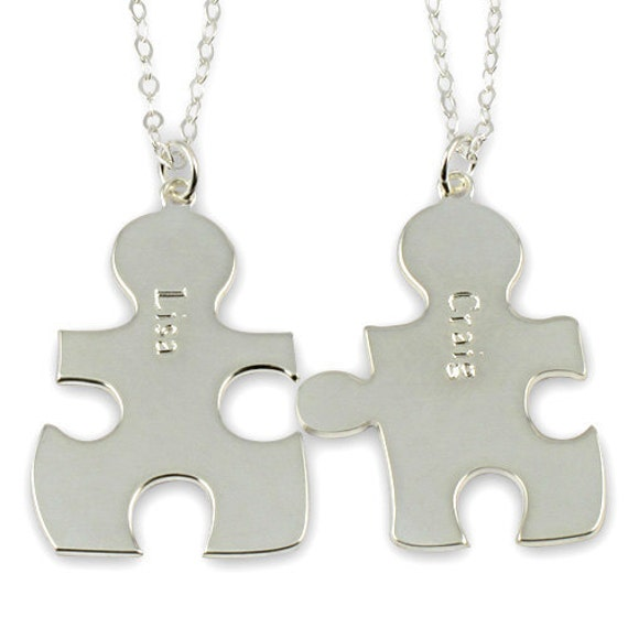 Reserved for  Arielle  BFF Friendship Necklace, Best Friends Forever Personalized Name Necklace Sterling Silver Couple's Puzzle