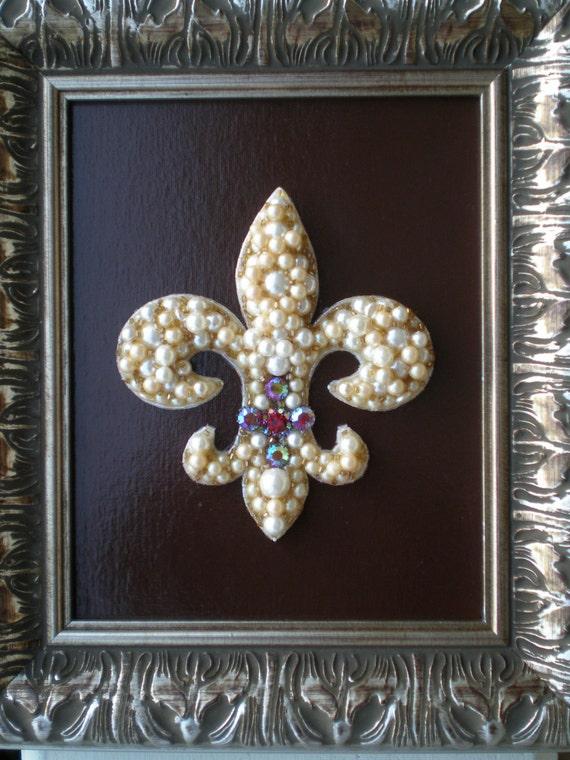Beaded Fleur De Lis Art/Beaded Art/Fleur De Lis Decor/Mosaic Art/Repurposed Art/One Of A Kind/Jeweled Art