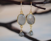 Light grey faceted ovals and shimmery blue labradorite drop earrings on gold-filled wire