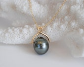 Tahitian Pearl, 14k Gold Spinning Pendant. Organic shape.