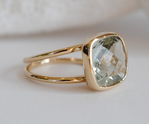 Green Amethyst & 14k gold Cocktail Ring.Checkerboard Cut