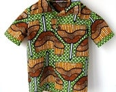 Size 7 Boy's African Wax Print Shirt - Cotton