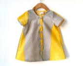 Size 5T Girls Short Sleeve Tunic Dress - Yellow and Grey Marimekko Cotton