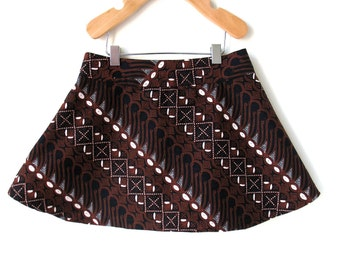 Toddler Girls Skirt - 4T in Brown and Black Balinese Cotton