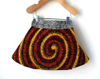 Size 9 Month African Wax Print Skirt - Elastic Back
