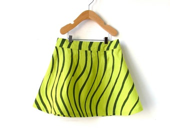 Girls Size 6 Marimekko Skirt- Green Waves