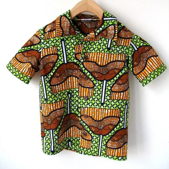 Size 7 Boy's African Wax Print Shirt - Cotton